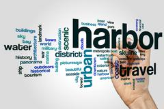 Harbor word cloud concept Stock Illustration
