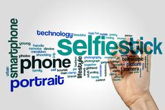 Selfie stick word cloud concept - stock illustration