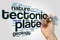 Tectonic plate word cloud concept - stock illustration