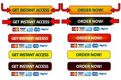Order & Member Instant Access Buttons (Isolated on white  background) - stock illustration