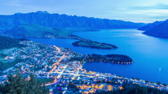 TTime Lapse - Aerial View of Queenstown, New Zealand at Evening - stock footage