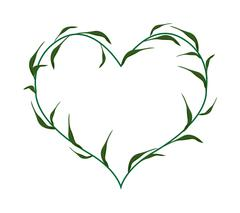 Fresh Green Leaves in A Heart Shape Wreath - stock illustration