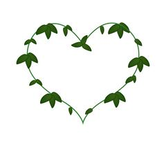 Green Vine Leaves in A Heart Shape Wreath - stock illustration