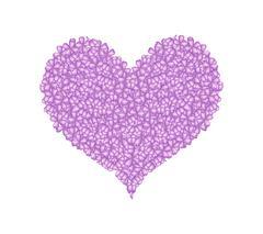 Purple Lilac or Syringa Vulgaris in A Heart Shape - stock illustration