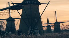 Windmills by Sunset, Holland Stock Footage