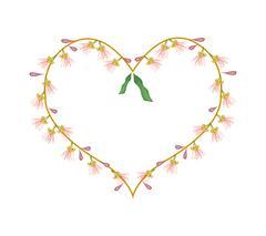 Indian Oak Flowers in A Heart Shape Stock Illustration