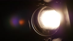 Lighting equipment, flash or spotlight, on and off, black, close up - stock footage