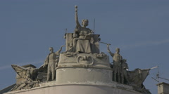 Statuary group on the rooftop of a building in Sarajevo Stock Footage