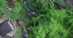 4K AERIAL HIGH ANGLE SHOT OF RICE TERRACES AND JUNGLE IN BALI - stock footage