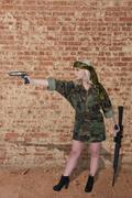 Beautiful Woman Soldier Stock Photos