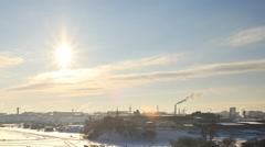 Industrial Zone. Ekaterinburg. View from Uktusskih mountains. Russia. TimeLapse Stock Footage