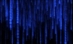 cyberspace with digital falling lines, binary hanging chain - stock illustration
