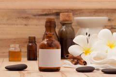Natural Spa Aromatherapy and Natural Spa theme on wooden background. Stock Photos