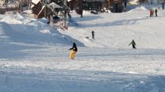 Ski slope. Uktusskie Mountains, Yekaterinburg Stock Footage