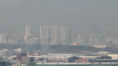 The smoke from the chimneys. Prom area in winter. Ekaterinburg Stock Footage
