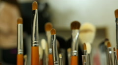 Cosmetics tool kit brushes for make-up - stock footage