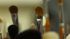 Cosmetics tool kit brushes for make-up Stock Footage
