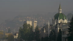 The Academy of Fine Arts and its surroundings, on a cloudy day in Sarajevo Stock Footage