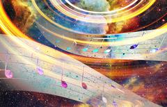 music note and Space and stars with abstrtact color background - stock illustration