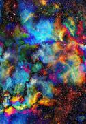 Nebula, Cosmic space and stars, blue cosmic abstract background. Elements of - stock illustration
