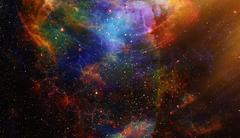 Cosmic space and stars with light circle, color cosmic abstract background Stock Illustration