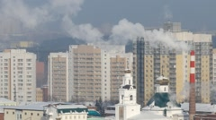 Temple and smoke. Ekaterinburg Stock Footage