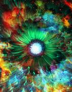 Space and stars with flower, color galaxi  background, computer collage - stock illustration