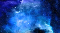 Nebula, Cosmic space and stars, blue cosmic abstract background - stock illustration