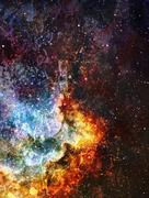 Cosmic space and stars, blue cosmic abstract background - stock illustration