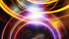 Cosmic space and stars, blue cosmic abstract background and light circle Stock Illustration