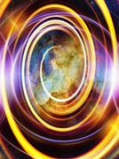Nebula, Cosmic space and stars with light circle, color cosmic abstract - stock illustration