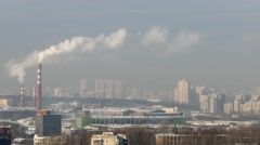 Smoke from the pipes against the backdrop of the city. Ekaterinburg Stock Footage