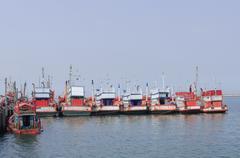 Blue fishing boats in Kho sri chang, Chonburi Thailand. - stock photo