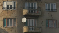 Bullet holes on the walls of an old building in Sarajevo - stock footage