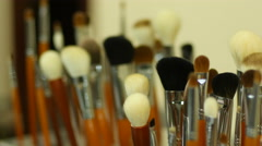 Cosmetics tool kit brushes for shadows make-up - stock footage
