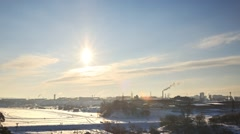 Smoke from the pipes against the backdrop of the city. Yekaterinburg, Russia. Stock Footage