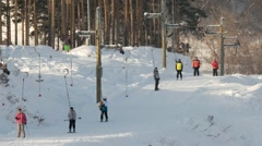 People on the ski lifts. Uktuss Mountains, Yekaterinburg Stock Footage