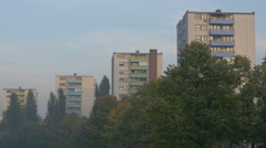 Blocks of flats on the bank of Miljacka River in Sarajevo Stock Footage