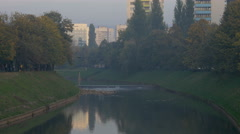 A park and buildings on the coast of Miljacka River, Sarajevo Stock Footage