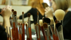 Cosmetics tool kit brushes for shadows make-up Stock Footage