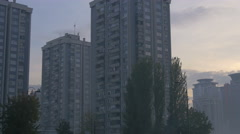View of blocks of flats and trees in Sarajevo - stock footage