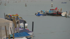 Anchored boats in Venice Stock Footage