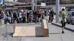 Unlucky teens skateboarders - stock footage