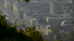 Traffic on the bank of Miljacka River seen from above, Sarajevo Stock Footage
