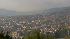 Sarajevo Library and many other buildings of Sarajevo seen from above Stock Footage