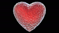 Slow motion 3D animation of the red ice melting heart, alpha mask is included Stock Footage