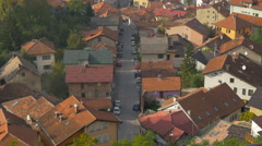 High angle view of cars parked on a street in Sarajevo - stock footage