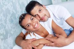Amorous guy and girl Stock Photos