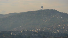 The television tower on Hum Hill in Sarajevo - stock footage