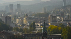 Beautiful cityscape on a sunny day in Sarajevo Stock Footage